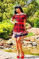 Цветочно-клетчатый мотив рисунка и полуоткрытые плечи, платье с микромасла, фото 1