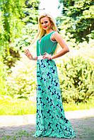 Длинное летнее платье с кулоном, цветочный принт, микромасло, фото 1