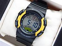Водонепроницаемые спортивные наручные часы Mingrui - черные с желтым