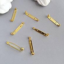 Основа для броши 35 мм (Япония). Защитный замок. Золото.