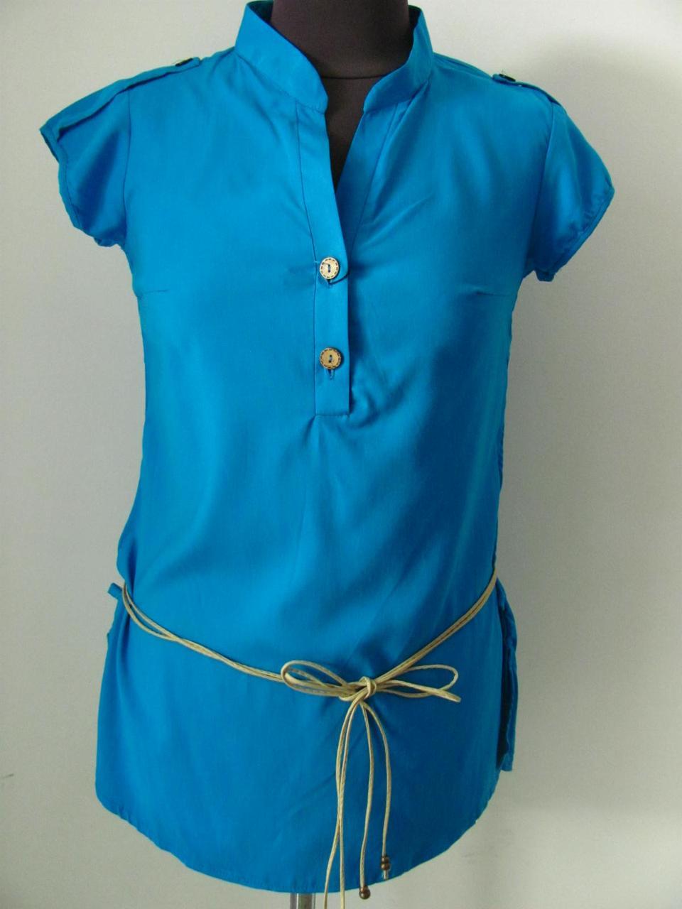 Блуза штапельная летняя, с поясом, однотонный материал, р.46-48 Код 1741М