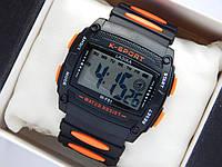Водонепроницаемые спортивные наручные часы прямоугольной формы Lasika W-F81 - черные с оранжевым, фото 1