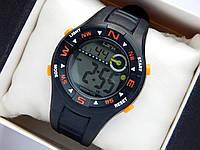 Водонепроницаемые спортивные наручные часы LSH-1079 - черные с оранжевым, фото 1
