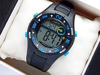 Водонепроницаемые спортивные наручные часы LSH-1079 - черные с синим, фото 1
