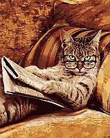 """Картина по номерам """"Кот с газетой"""" 40*50см Уценка"""