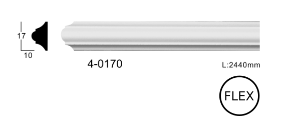Молдинг для стен, гладкий, Classic Home 4-0170 flex, лепной декор из полиуретана