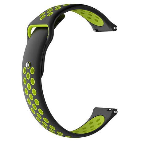 Ремешок BeWatch sport-style для Samsung Galaxy Watch 42 мм Черно-Салатовый (1010116.2), фото 2