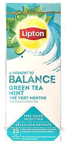 Зеленый чай пакетированный Lipton Green Tea with Mint (Чай зеленый с мятой) 25 шт