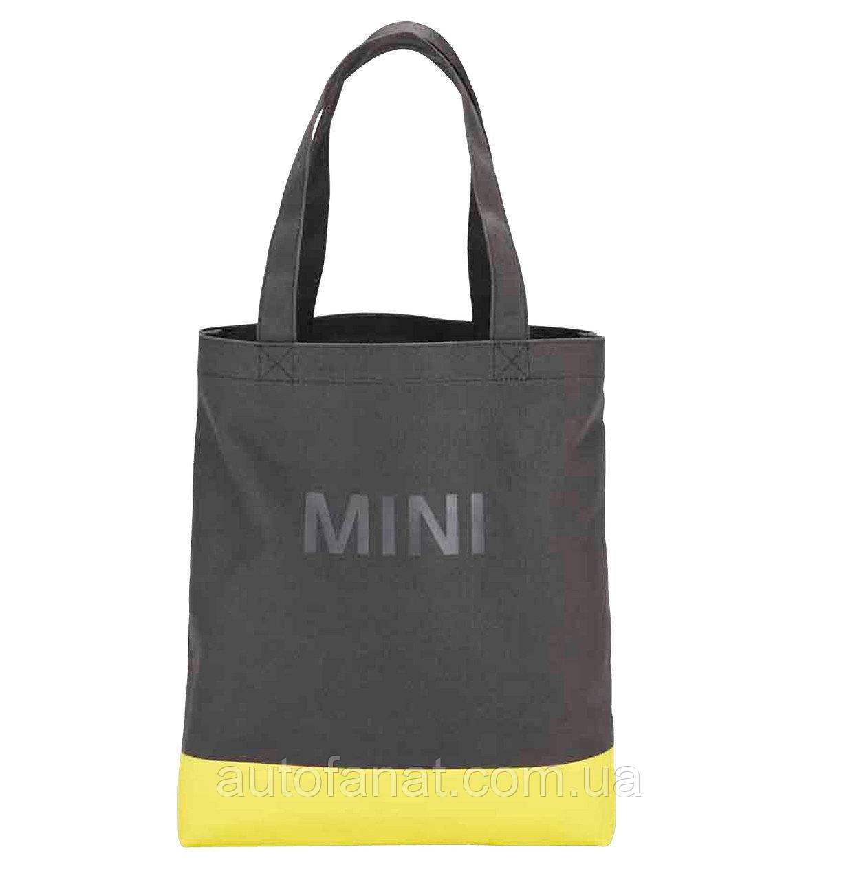 Оригинальная хозяйственная сумка-шоппер MINI Shopper Colour Block, Grey/Lemon (80222445669)