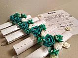 Пригласительные на свадьбу в свитках Изысканность (зеленая бирюза). Цена за 1 пригласительный., фото 2