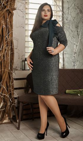 """Платье """"Мирасен""""  в большом размере размеры 52 зеленое, фото 2"""