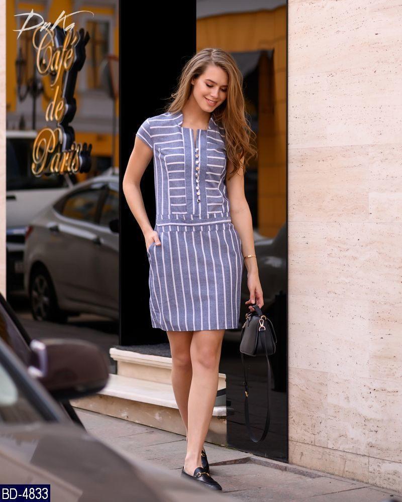 a08f7e39aa80eb8 Женское стройнящее модное летнее мини платье в полоску с коротким рукавом ( лен) 2 цвета (батал)