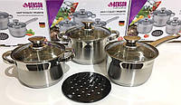 Посуда кухонная набор Benson BN-244 2 кастрюли ковш и жаропрочная балитовая подставка