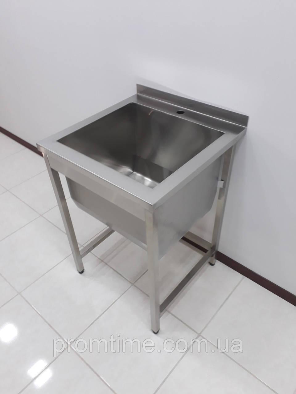 Мойка односекционная для ресторанной кухни с бортом из нержавеющей стали 600х600х850