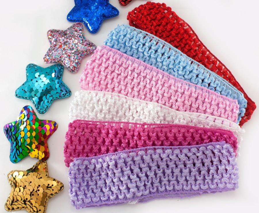 (12шт) Детские повязочки на голову, 4см ширина Цвета - МИКС