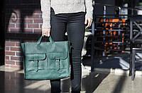 Большая сумка натуральная кожа ручная работа Boorbon 602 кожа зеленая сумка подарок для девушки подруги