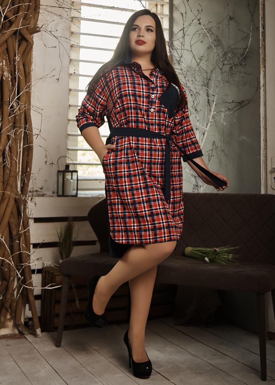 Платье мод. №586-2, размеры 52,54,56 красная клетка