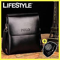 Стильная мужская сумка Polo Videng + часы Swiss Army в Подарок!