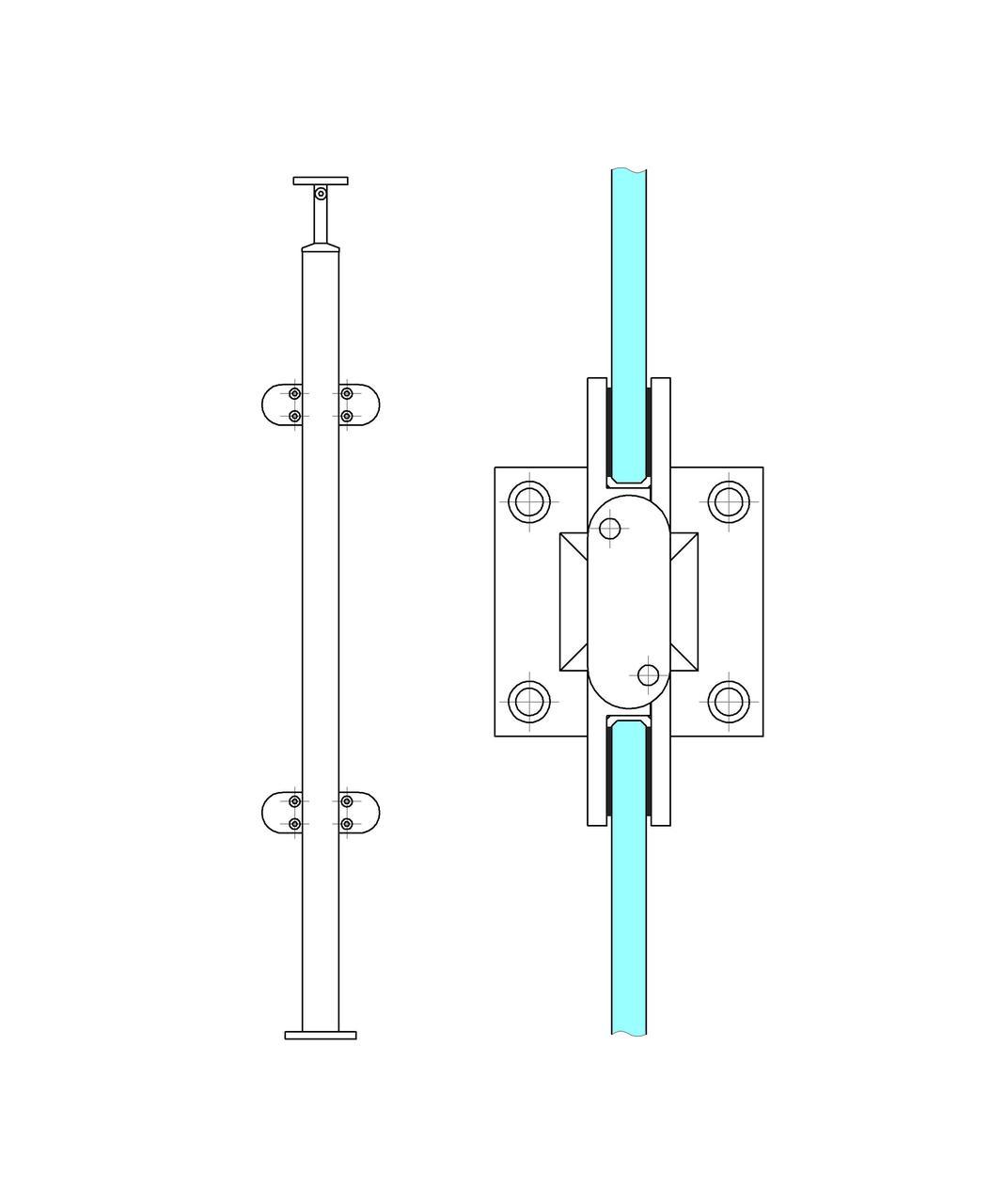 ODF-19-01-01-H1060 Средняя стойка ограждения под стеклянное наполнение и круглый поручень диаметром 42,4 мм