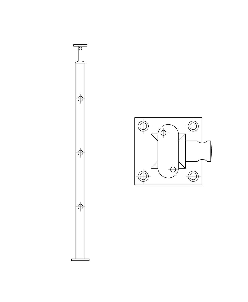 ODF-20-01-01-H950 Стойка под ригельное наполнение с 3-мя регедержателями и круглый поручень