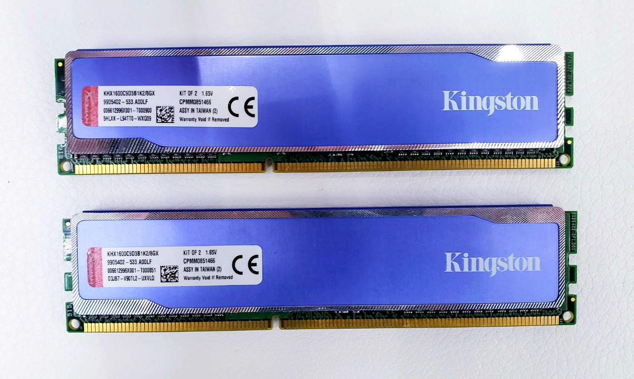 Оперативная память Kingston HyperX DDR3 8GB(4GBx2) 1600MHz DIMM KHX1600C9D3B1K2/8GX  Б/У