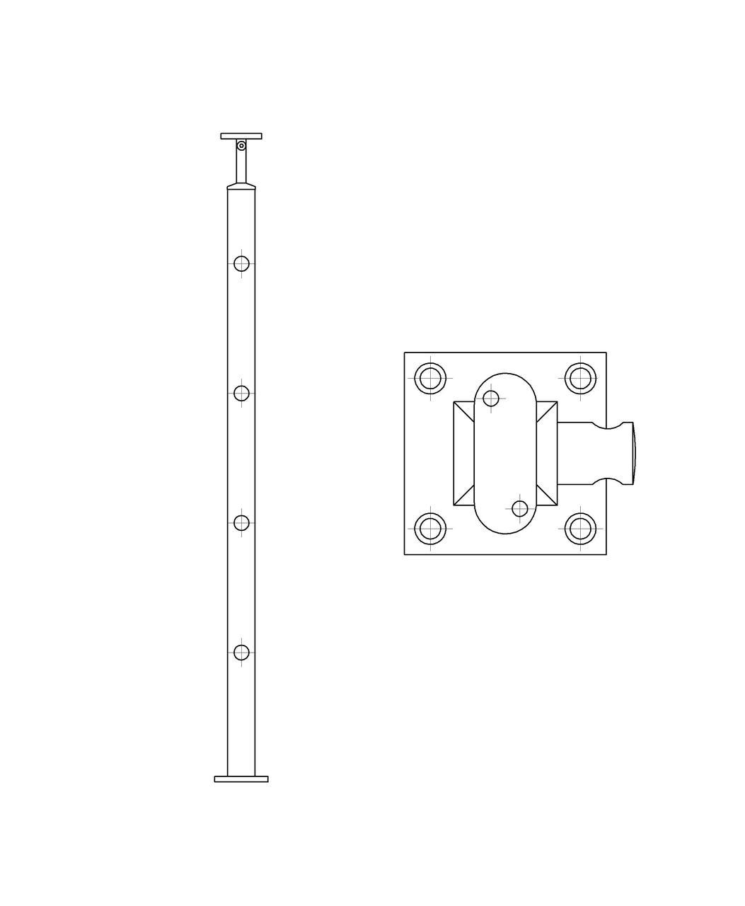 ODF-20-02-01-H950 Стойка под ригельное наполнение с 4-мя регедержателями  и круглый поручень