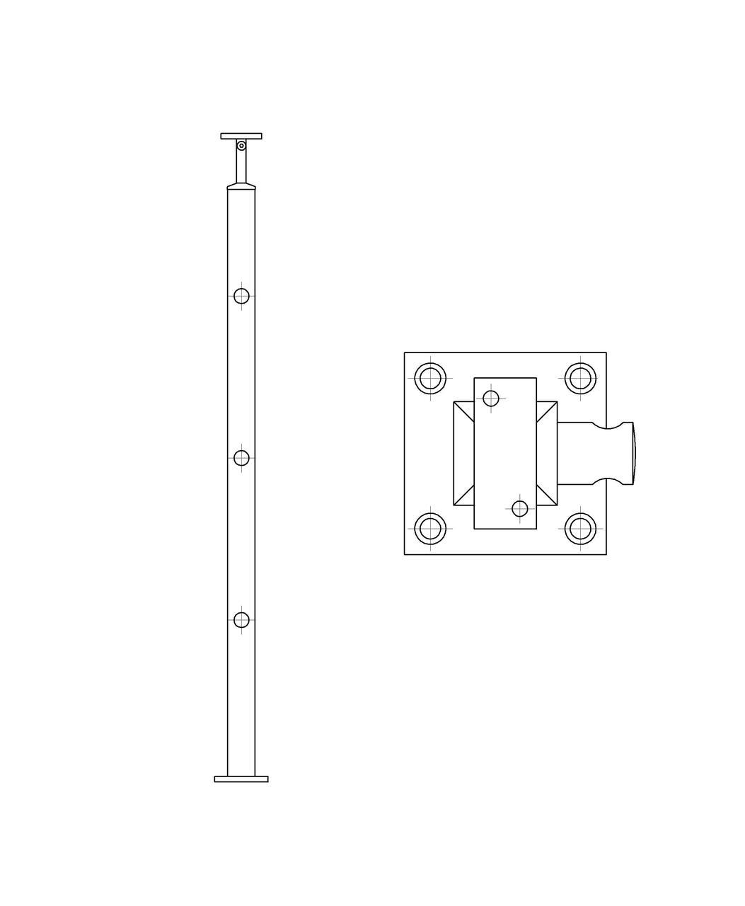ODF-20-03-01-H950 Стойка под ригельное наполнение с 3-мя регедержателями и квадратный поручень