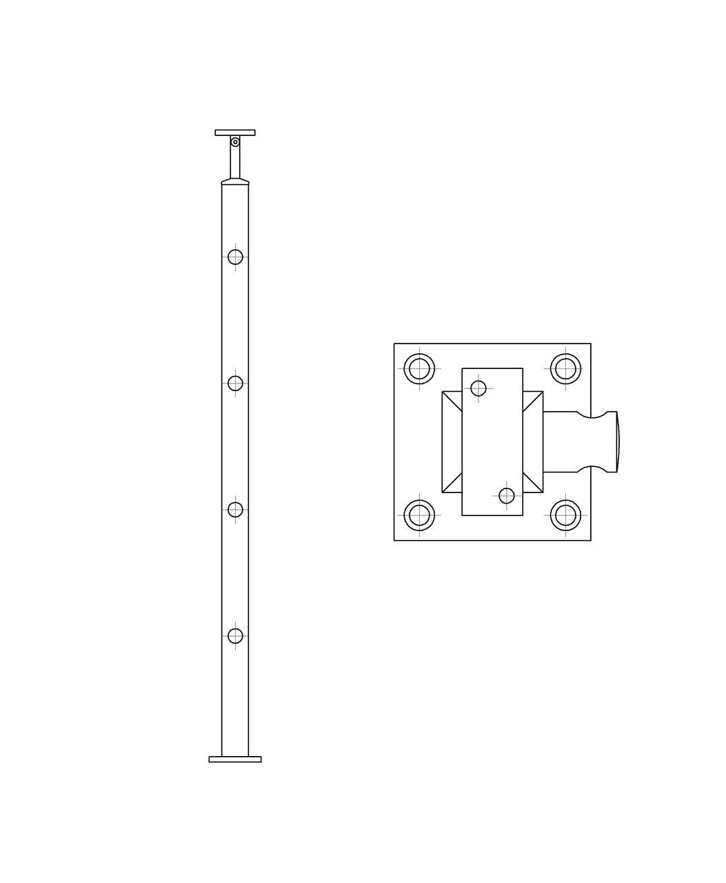 ODF-20-04-01-H950 Стойка под ригельное наполнение с 4-мя регедержателями и квадратный поручень