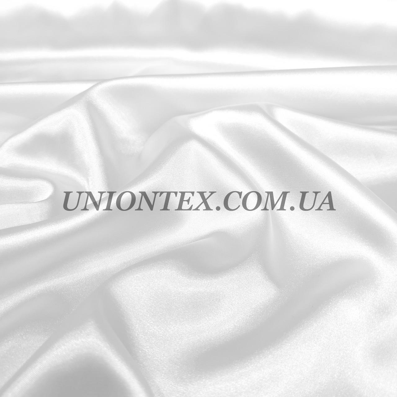 Ткань атлас стрейч белый
