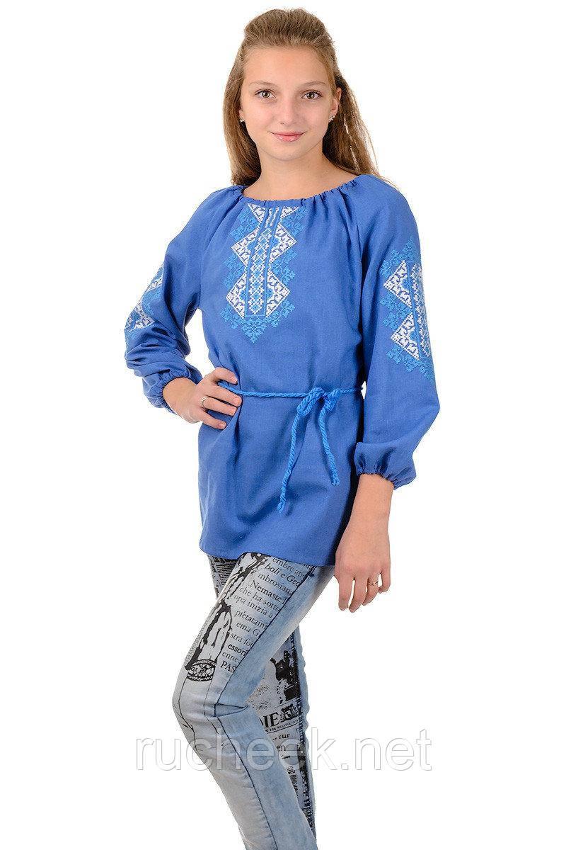 Вышиванка для девочки подростковая Украиночка длинный рукав р-ры 128 - 152