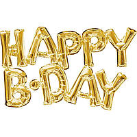 Фольгированные шары буквы HAPPY B-DAY золото 147*37 см
