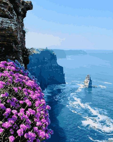Картина по номерам 40×50 см. Утёсы Мохер - клиф в Ирландии, на берегу Атлантического океана, в графстве Клэр.