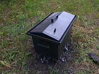 Коптильня с гидрозатвором крышка домиком 2 уровня (520х310х260)-2 мм для горячего копчения+ЩЕПА В ПОДАРОК!