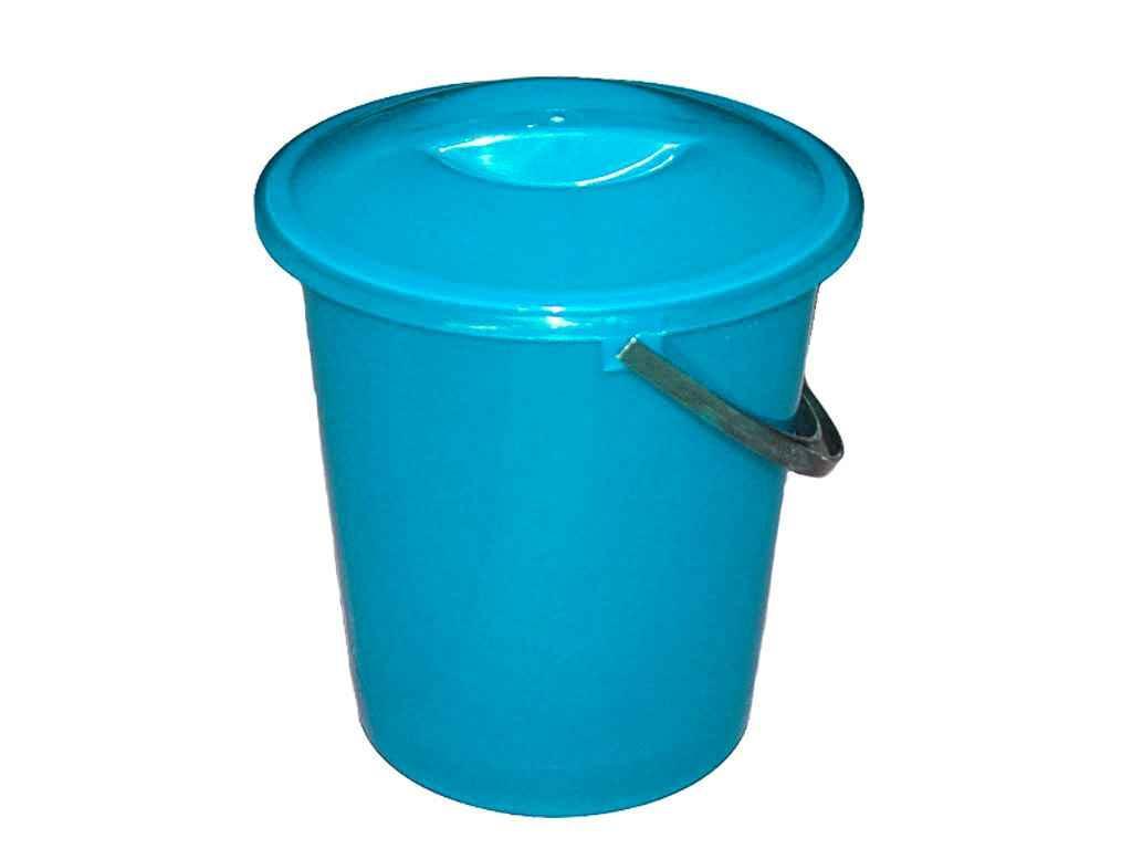 Ведро пластиковое пищевое с крышкой Мед 7 л голубое