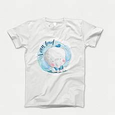 Детская футболка с принтом. Elephant Blue Babi. Хлопок 100%. Размеры от 3 до 12 лет