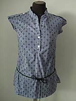 Блуза штапельная летняя, с поясом, цветной принт, пять цветов, р.46-48 Код 1751М