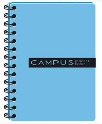 Блокнот В6 Campus Pocketbook на пружині, 120 аркушів, пласт. обкладинка, 3 розділювача, ВР63120-810, блакитний, фото 2