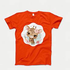 Детская футболка с принтом. Flowery Giraffe. Хлопок 100%. Размеры от 3 до 12 лет