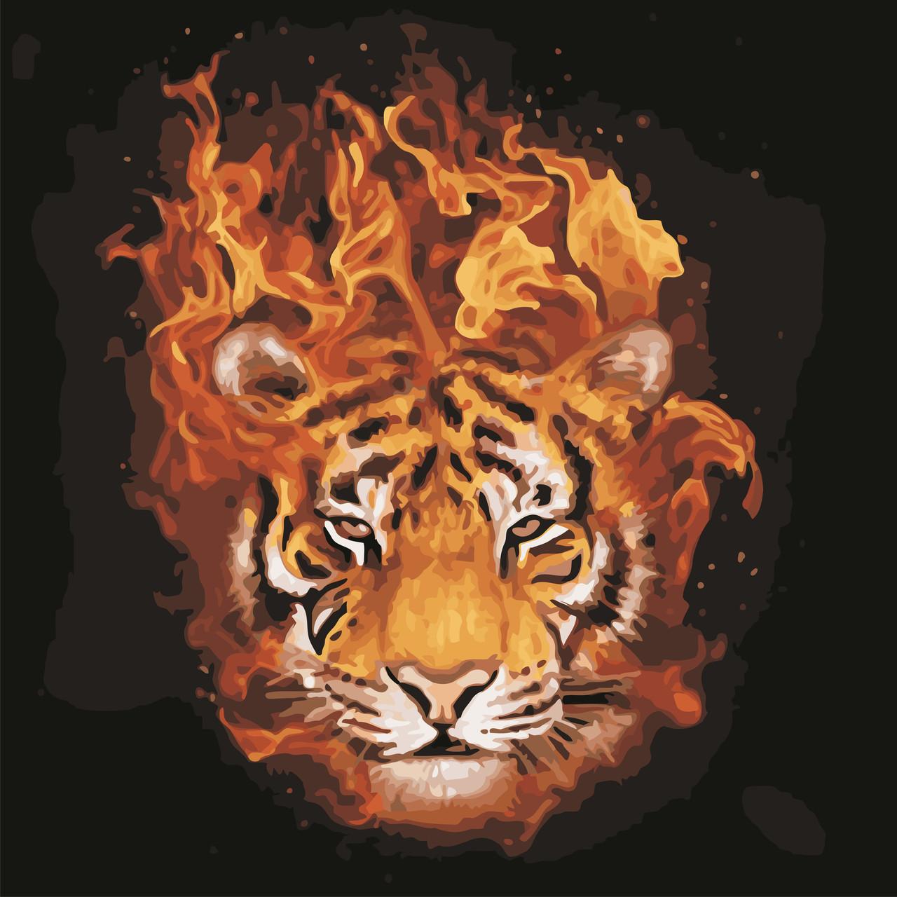 "Картина по номерам ""Тигр в огне"" 40*40см"
