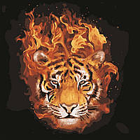 "Картина по номерам ""Тигр в огне"" 40*40см, фото 1"