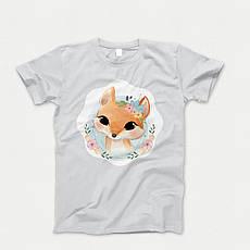 Детская футболка с принтом. Foxy Portrait. Хлопок 100%. Размеры от 3 до 12 лет