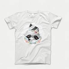 Детская футболка с принтом. Raccoon Portrait. Хлопок 100%. Размеры от 3 до 12 лет