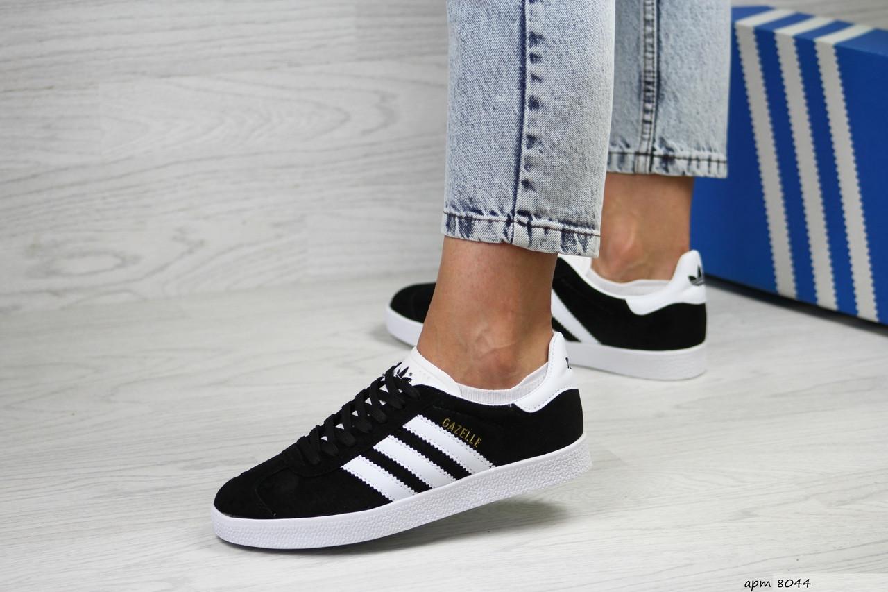 Женские кроссовки Adidas Gazelle (черно-белые)