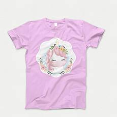 Детская футболка с принтом. Unicorn Portrait_. Хлопок 100%. Размеры от 3 до 12 лет