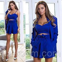 Стильный женский костюм 3 в 1: шорты+топ+пиджак №542, фото 2