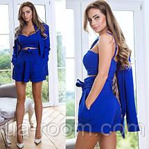 Стильный женский костюм 3 в 1: шорты+топ+пиджак №542, фото 3