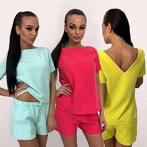 Женский летний костюм двойка футболка с шортами /разные цвета, 42-50р., sh-029/