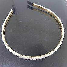 Украшение-ободок для волос Жемчужное плетение в три ряда (Vtnm-obod-3pearl-gold)