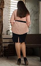 """Летний костюм """"Алифтина"""" в большом размере, размеры 48-50,52-54,56-58 персик с синим, фото 3"""