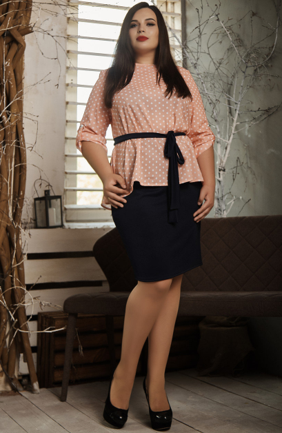 """Летний костюм """"Алифтина"""" в большом размере, размеры 48-50,52-54,56-58 персик с синим"""
